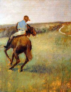 Jockey in Blue on a Chestnut Horse by Edgar Degas