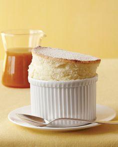 lemon souffle! i love souffle. butter, sugar, eggs, flour, lemons, milk, and confectioner's sugar.