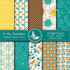 In My Garden - set of 10 digital papers for your craft and creative projects.