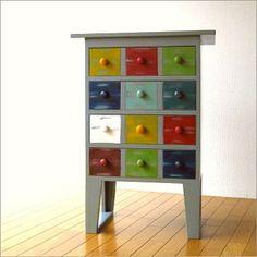 ポップでキュートなアジアン家具カラーチェスト木製アンティーク風レトロ