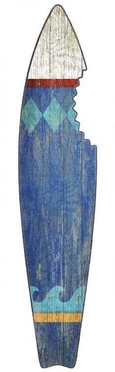 Blue Shark Bite Surf Board Wall Art