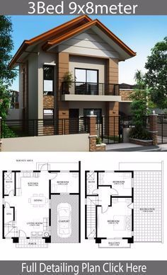 Home design plan with 3 bedrooms – Home Ideas – House Design Two Story House Design, 2 Storey House Design, Bungalow House Design, Small House Design, Modern House Design, House Plans Mansion, House Layout Plans, Dream House Plans, House Layouts