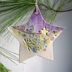 Purpley Jumbley Porcelain Star-READY TO SHIP von dhergtdesign