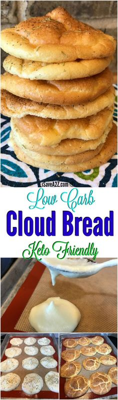 Low Carb Cloud Bread Recipe Made with Baking Soda and a keto friendly recipe! Keto Foods, Ketogenic Recipes, Keto Snacks, Low Carb Recipes, Baking Recipes, Bread Recipes, Ketogenic Diet, Keto Desserts, Pescatarian Recipes