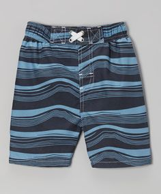 be6dd0ad79de6 Another great find on #zulily! Navy Waves Swim Trunks - Infant, Toddler &