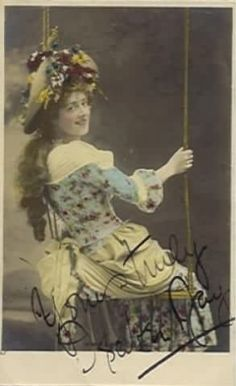 "Alfred Ellis photo; tinted postcard of Isabel Jay as Patience in the 1900 DOC revival of ""Patience"" at the Savoy Theatre."