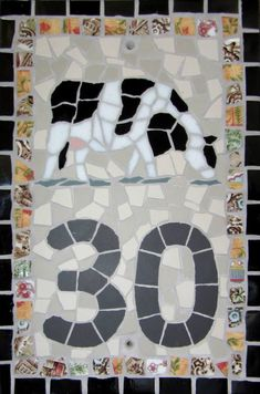 House Number by TomatoJack Arts Vintage crockery, ceramic and glass mosaic tiles