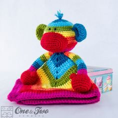 Rainbow Sock Monkey Lovey Crochet Pattern