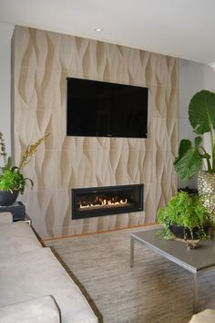This is a collection of fireplace ideas we've collected. There are many unique and modern fireplace ideas that use easy-to-get materials such as ceramics, stones and bricks. Let's make your room more complete now. Stylish Living Room, Home Fireplace, Living Room With Fireplace, Contemporary Living Room, Fireplace Design, Wallpaper Living Room, Master Bedroom Inspiration, Indoor Fireplace, Modern Fireplace
