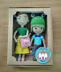 Sophia & Caleb ready to go! Caleb Und Sophia, Caleb Y Sofia, Amigurumi Doll, Plush Dolls, Crochet Dolls, Crochet Hats, Jehovah's Witnesses, Ready To Go, Custom Dolls