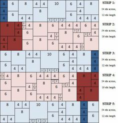 """Klimt blanket tutorial & lay-out :: similar to Babette blanket.  Simple squares/ rectangle pattern,fantastic setting & color placement, could be full or partial template for other projects than Klimt afghan. (NCS)  [Orig Pinner adds """"many thanks to Gingerschatz""""!]"""
