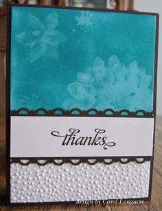 thanks water stamped card by Carol Longacre