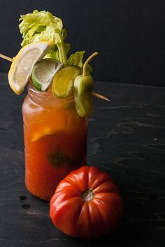 Spicy Heirloom Bloody Marys with Pepper-Infused Vodka.