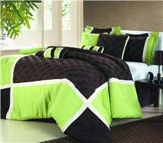 Zebra Color Bed Set Neon Green