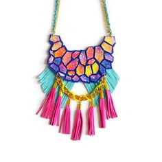 Neon Galaxy Statement Necklace, Tassel Leather Necklace, Nebula Hexagon Fringe Leather Geometric Jewelry