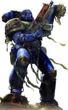 The Space Marines or Adeptus Astartes are foremost amongst the defenders of humanity, the greatest of the Emperor of Mankind's warriors. They are barely human at all, but superhuman; having been made superior in all respects to a normal man by a harsh regime of genetic modification, psycho-conditioning and rigorous training. Space Marines are untouched by plague or any natural disease and can suffer wounds that would kill a lesser being several times over, and live to fight again. Clad in...