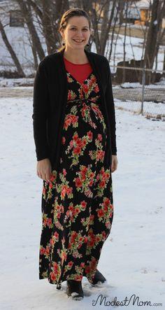Maternity Black Maxi Dress with Cardigan.