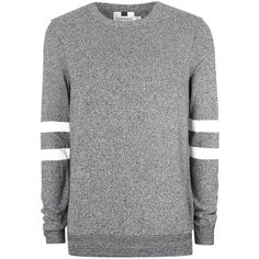TOPMAN Dark Grey and White Twist Sleeve Stripe Jumper ($39) ❤ liked on Polyvore featuring men's fashion, men's clothing, men's sweaters, mid grey, mens short sleeve sweater, mens black and white striped sweater, mens striped sweater, mens grey sweater and mens gray sweater