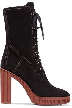 Tod's - Lace-up Suede Boots - Black