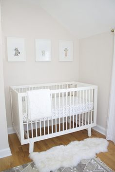 Modern Crib in a Modern, Soft Pink and Gray Nursery - love the simple styling!