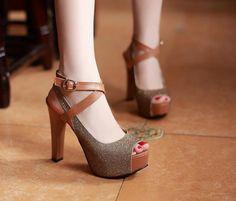Korea Cross Peep Toe High Heels Sandals Gold CD13042226-1.http://www.clothing-dropship.com
