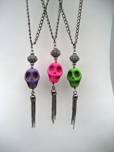 Colorful Skull Necklace Dia De Los Muertos Jewelry by PieceLust