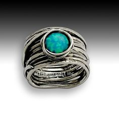 Sterling silver ring, stone ring, wrap around ring, blue opal ring, gemstone ring, Opal October birthstone - Imagine life in peace R1505