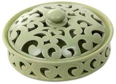 Shop unique, award-winning Artisan treasures by NOVICA, the Impact Marketplace. Each original piece goes through a certification process to guarantee best value and premium quality. Ceramics Projects, Clay Projects, Green Bowl, Clays, The Smoke, Ceramic Bowls, Packaging Design, Porcelain, Candles