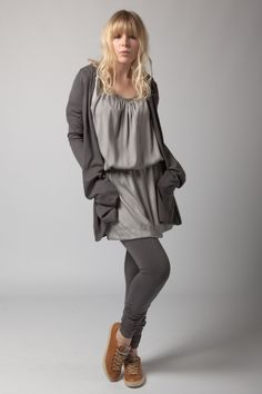 Slouchy Grey Layers - trainers pop of colour