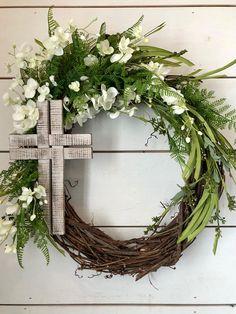 Easter wreath cross wreath Spring wreath Summer wreath
