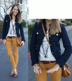J's Everyday Fashion provides outfit ideas, budget fashion, shopping on a budget, personal style inspiration, and tips on what to wear. Yellow Jeans Outfit, Colored Pants Outfits, Yellow Pants, Mustard Jeans Outfit, Camel Pants Outfit, Colored Jeans, Casual Winter Outfits, Fall Outfits, Cute Outfits