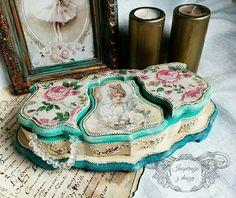 #antique #wood #baroque #box #decoupage #shabby #chic #handmade #rękodzieło #decorations