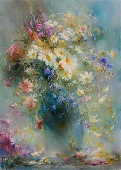Flower Painting Canvas, Oil Painting Flowers, Abstract Flowers, Beautiful Paintings, Art Oil, Flower Art, Watercolor Paintings, Wall Photos, Impressionist Paintings