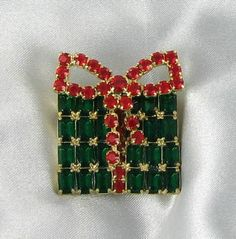 Christmas Present Brooch - Red Green Baguette Rhinestone Xmas Pin from Finishing Touch Vintage Jewelry on Ruby Lane
