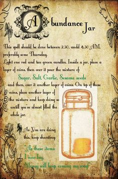 Magick Spells: Abundance Jar ~ Russian folk spell to increase money flow, and keep it staying with you. Magick Spells: Abundance Jar ~ Russian folk spell to increase money flow, and keep it staying with you. Wiccan Spell Book, Witch Spell, Spell Books, Wicca Witchcraft, Magick Spells, Green Witchcraft, Wiccan Rituals, Jar Spells, Luck Spells