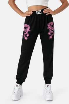 Tokyo Sweatpants - - Black sweatpants with pink dragon graphic print Fabric / Material: Polyester Item care: Hand wash Model is wearing: S Model measurements (In): Height Bust Waist Hips Cute Lazy Outfits, Trendy Outfits, Girl Outfits, Fashion Outfits, Sporty Fashion, Mod Fashion, Sporty Outfits, Sporty Chic, Fashion Women
