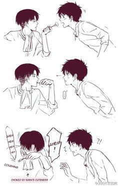 Eren, Levi, yaoi, EreRi, RiRen, funny, food, text, comic, blushing, cute, fork; Attack on Titan