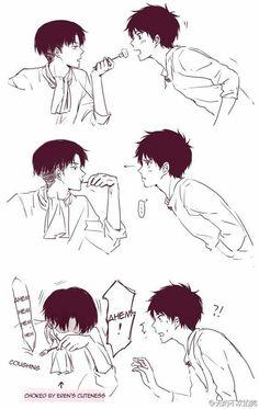 Eren, Levi, yaoi, EreRi, RiRen, funny, food, text, comic, blushing, cute, fork; Attack on Titan
