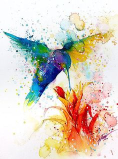 Hummingbird 2  watercolor painting  A4  A3  art by tilentiart