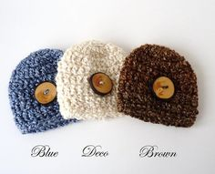 Photo Props   3 Handmade Baby Hats  Crochet with by ArtsandAccents, $26.00