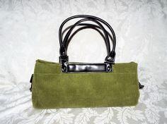 "OLIVE GREEN BARREL BAG, Corduroy Fabric Double Handle Handbag 15"" L  6"" Ht #GenericUnbranded #BarrelBag"