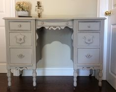Beautiful desk/ vanity finished in AS chalk paint custom mix of French Linen and Old White/ original hardware. Lovely curves and details.  ~ Beautifully Brocante by Lori~