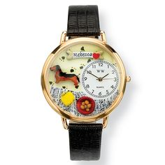 Personalized Dachshund Watch in gold or silver case on PalmBeach Jewelry @Caty Colón