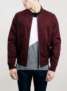 Burgundy Cotton Bomber Jacket by Topman
