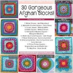 30 Free 12 inch Afghan Block Crochet Patterns! Oombawka Design Crochet