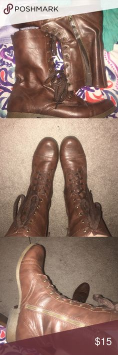 Brown leather combat boots Lace up, and zipper on side. Medium brown combat boots. Size 11. Mossimo target shoe, worn twice. Mossimo Supply Co. Shoes Combat & Moto Boots