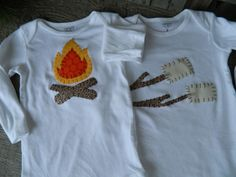 Camp Fire and Marshmellow Onesies, Twin Birthday Shirts, Campfire Shirts, Twin Boy Birthday Shirts, Baby Shower Decor, First Birthday Onesie. $39.95, via Etsy.