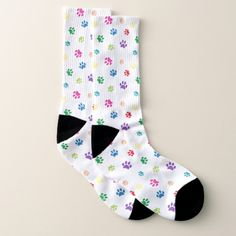 Shop Colorful Paw Prints Pattern Socks created by PurpleCatArts. Dog Lover Gifts, Dog Lovers, Dog Poster, Rainbow Painting, Patterned Socks, Labradoodle, Rescue Dogs, Yorkie, Poodle