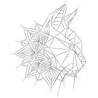 Simple geometric cat head with mandala tattoo design