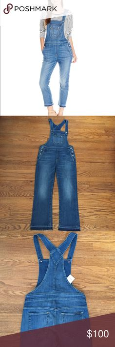 """7 For All Mankind Overalls Great pair of cropped boot overalls from 7 For All Mankind. These are 98% cotton, 2% spandex. Super comfy with plenty of stretch. 24.5"""" inseam. 53"""" length. Size small. Would work great for size 4-6. Anthropologie Jeans Overalls"""